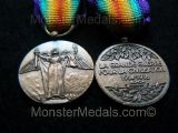 MINIATURE WW1 INTER ALLIED VICTORY MEDAL FRANCE (CHOBILLION VERSION)